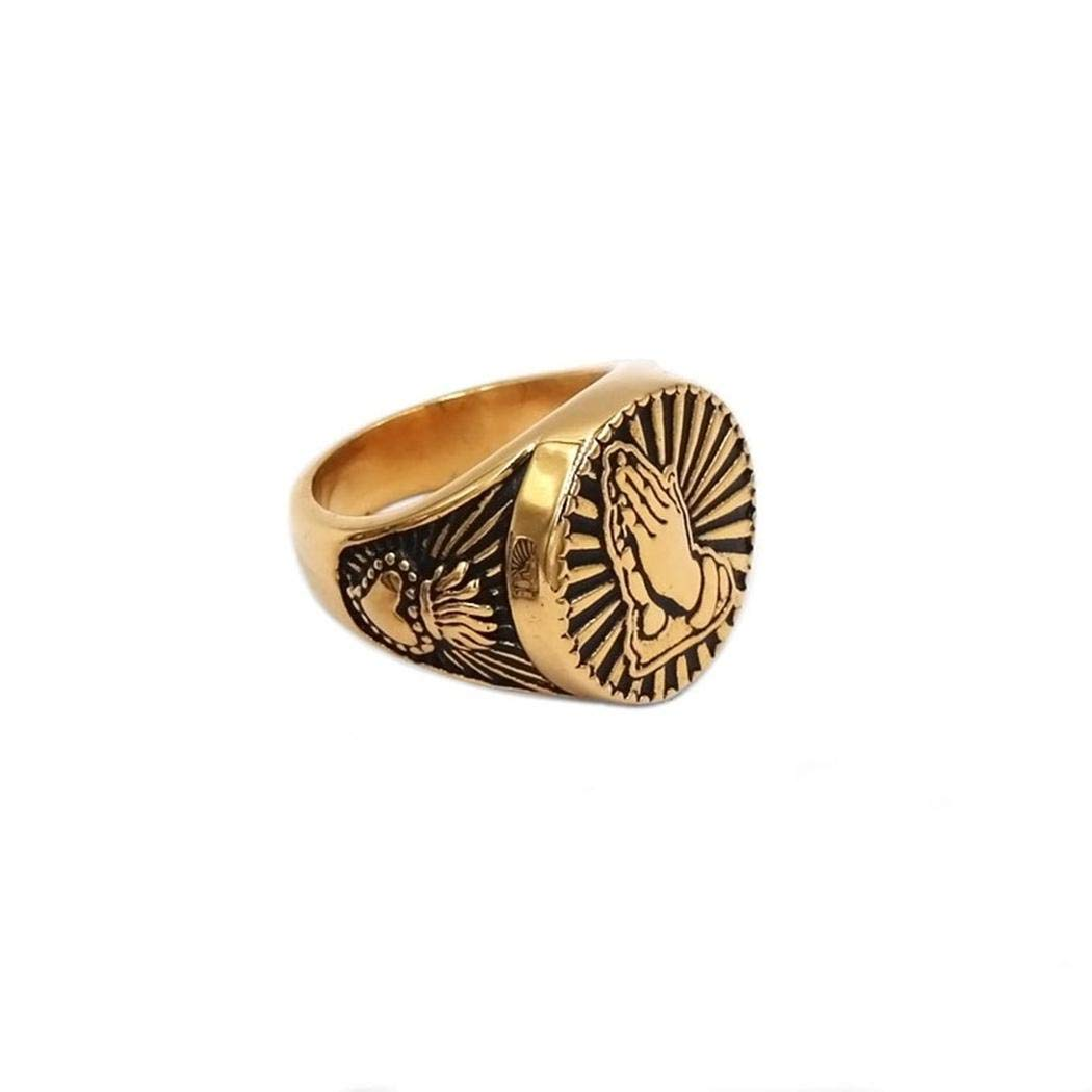 Fashion Stainless Steel Ring JEWURA Religious Ring Gold Praying Hands