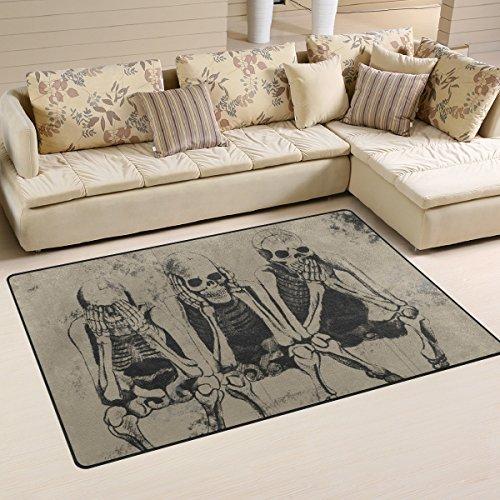 (ZOEO Non-slip Area Rugs Home Decor, Vintage Funny Halloween Skull Art Floor Mat Living Room Bedroom Carpets Doormats 60 x 39)