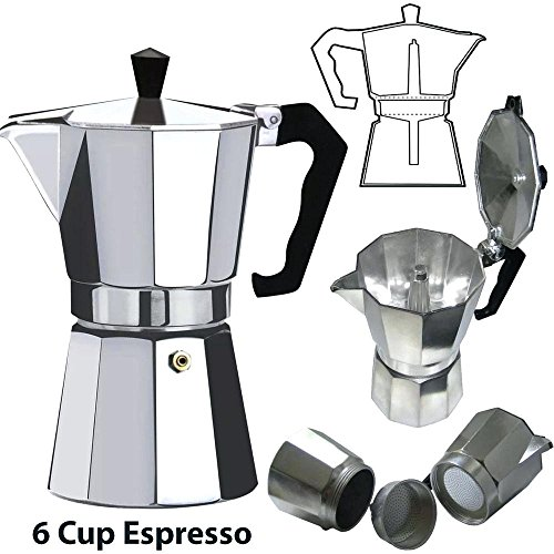 Euro-Home - CaffeXspress 6 Cup Aluminum Espresso Coffee Maker - Barista quality espresso maker. by Euro-Home (Image #3)