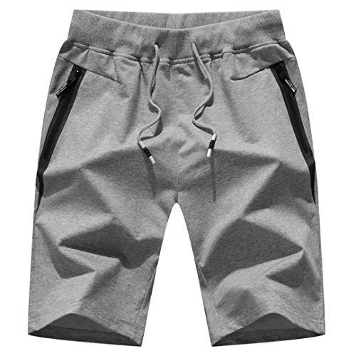 "STICKON Mens 7"" Inseam Workout Shorts Elastic Waist Drawstring Summer Casual Short Pants Zipper Pockets (Light Gray, Medium)"