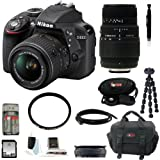 Nikon D3300 DSLR Camera Bundle with 18-55mm & 70-300mm Lenses + 32GB SD Card