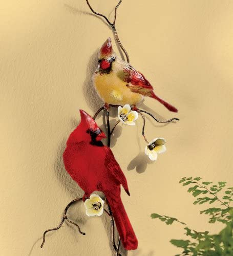 Wind Weather Handcrafted Enamel Glass and Copper Cardinal Wall Sculpture