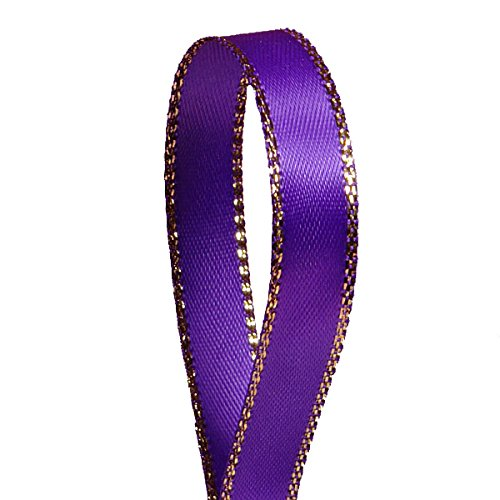 Purple Satin Ribbon with Gold Edges, 3/8