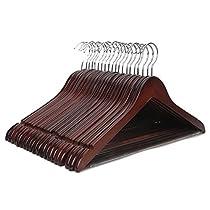 J.S. Hanger Perchas de madera auténtica (20 unidades)