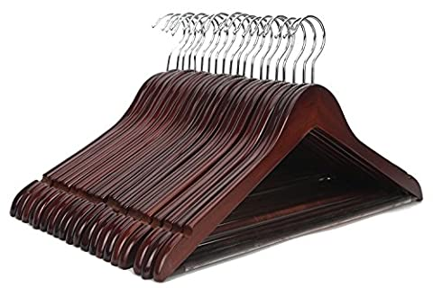 J.S. Hanger Solid Wooden Suit Hangers Walnut Finish with Polished Chrome Hooks - 20 Pack - Chrome Finish Plastic