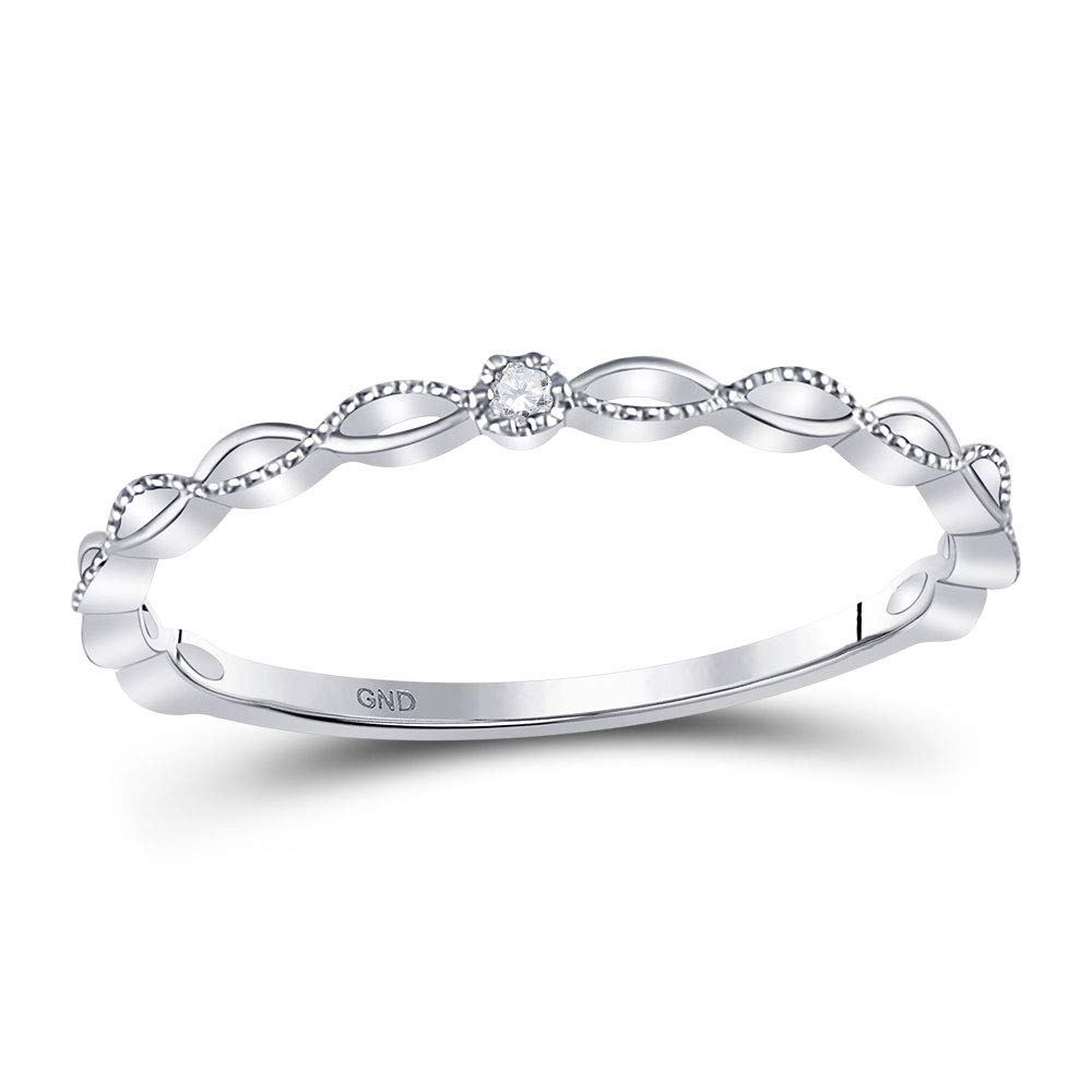 Dazzlingrock Collection 10kt White Gold Womens Round Diamond Stackable Band Ring .01 Cttw