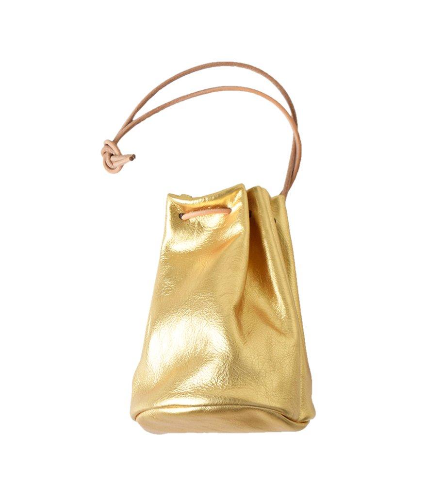 (モルミルス)mormyrus レザー巾着ハンドバック m077-13000 B07CCG9CX8 One Size|ゴールド ゴールド One Size