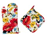Two Lumps of Sugar Poppin' Poppies Oven Mitt and Potholder Set