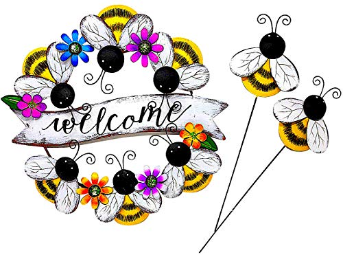 Bolt Bumble Bee - DI Inc Set of Metal Door Wall Wreath Decoration and Garden Stakes Indoor Outdoor Metal Colorful (Bumblebee)