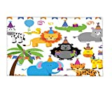 Interestlee Fleece Throw Blanket Birthday Decorations for Kids Jungle Wild Animals in Cartoon Pattern Party Hats Flags Image Multicolor
