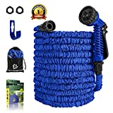 LANIAKEA 2019 Overall Upgraded Garden Hose - Expandable Triple Latex Core & Thickened Outside Fabrics Water Hose, No Kink & Twist Flexible Water Pipe with Solid Fittings - 100FTBlue