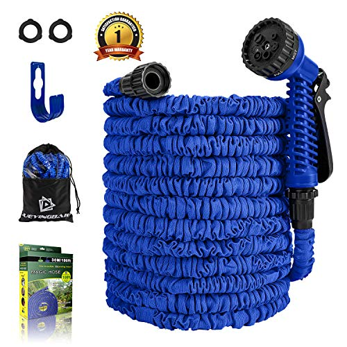 Garden Hose – 100 FT Expandable Water Hose – Lightweight Triple Latex Core & Extra Strength Fabric Water Pipe with 3/4″ Solid Fittings, Storage Bag, Hanger for Gardening Lawn Car Pet Washing (Blue)