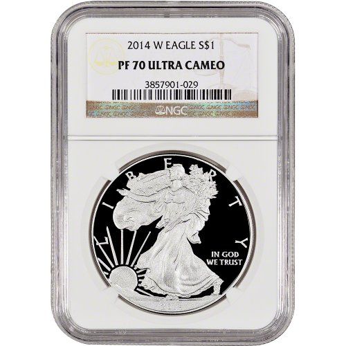 2014 W American Silver Eagle Proof $1 PF70 UCAM (Ngc Pf70 Proof)
