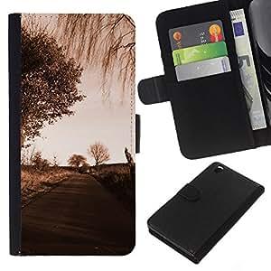YiPhone /// Tirón de la caja Cartera de cuero con ranuras para tarjetas - Camino Sad - HTC DESIRE 816
