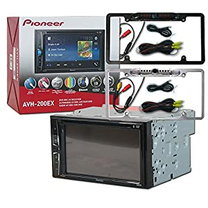 """Pioneer Double DIN 2DIN AVH-200EX 6.2"""" Touchscreen Car stereo MP3 CD DVD player Bluetooth USB with DCO Full License plate Night vision waterproof back-up camera (Optional Color)"""