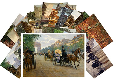 Postcard Set 24 cards Belle Epoque Town Life Victorian Vintage Painting by Jean Beraud ()