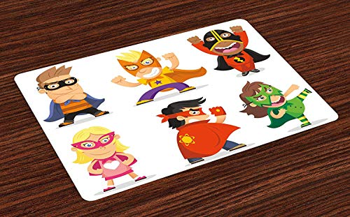 Superhero Place Mats Children Dressed as Superheroes Kids Playroom Girls Boys Nursery Babyish Picture Washable Fabric Placemats for Dining Room Kitchen Table Decor Multicolor 24 W X 16 W Inches -