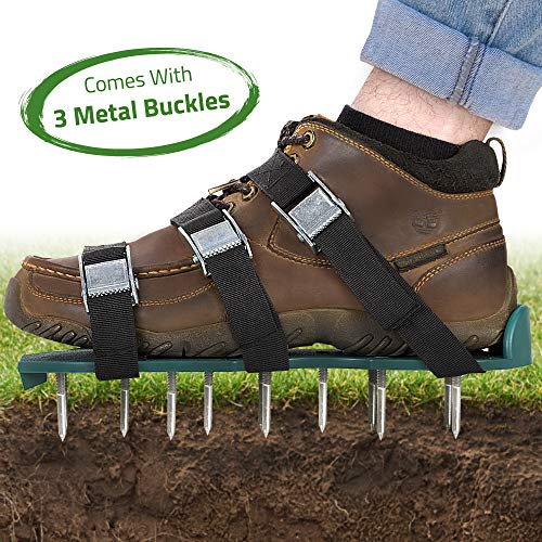 Abco Tech Lawn Aerator Shoes - for Effectively Aerating Lawn Soil - 3 Adjustable Straps and Heavy Duty Metal Buckles - One Size Fits All - Easy Use for a Healthier Yard and Garden (Best Hand Lawn Aerator)