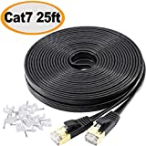 Jadaol Cat 7 Ethernet Cable 25 ft Shielded (STP), High Speed Solid Flat Internet Lan Computer patch cord, faster than Cat5e/Cat5/cat6, Durable Rj45 Cat7 network Wire for Router, Modem, Xbox, PS- Black