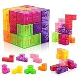 D-FantiX Magnetic Building Blocks, Magnet Toys Cube 3D Tetris Puzzle Brainteaser Stress Relief Toy Square Magnet Building Blocks Kids 54pcs Cards