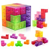 D-FantiX Magnetic Building Blocks, Magnetic Block Cube Brick Tile 7Pcs Square Magnet Cube Stress Relief Toy Magnet Puzzle Toy for Girls Boys with 54pcs Puzzle Cards