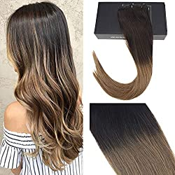 "Sunny Hair Seamless Remy Human Hair Clip in Extensions Ombre Darkest Brown to Medium Brown Straight Human Hair Clip in Hair Extensions 16"" 7 Pcs 120 Gram Per Package"