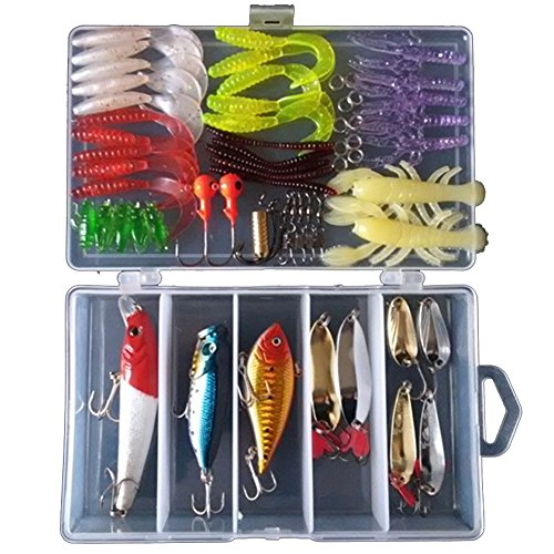 KMBEST Fishing Lure Kit Including Fish Hooks, Hard Soft Bait And Other Saltwater Freshwater Lures for Fishing With Tackle Box