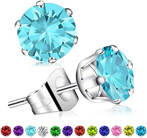 Birthstone Stud Earrings, Swarovski Element AAA Cubic Zirconia Stainless Steel Earrings for Women Girls