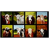 Kaufman Down On The Farm 23.5in Panel Cows Nature Fabric