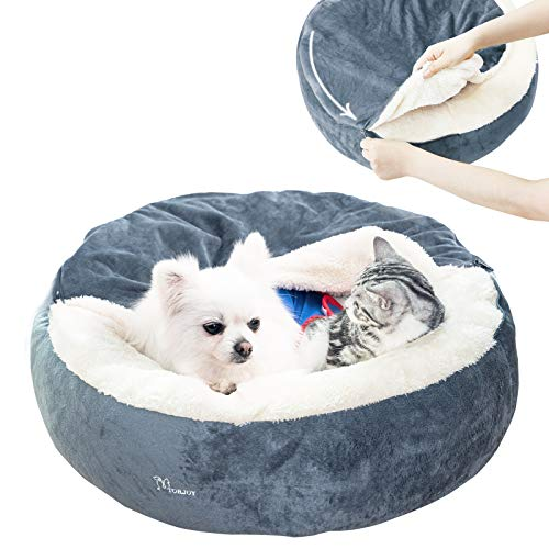 Dog Bed – Cozy Donut Cuddler Pet Beds for Small Dogs Cat,Calming Anti-Anxiety Premium Plush Nest Snuggler Improved Sleep,Washable,Non-Slip Bottom with Flannel Blanket (24″ x 24″x 7″, Grey)