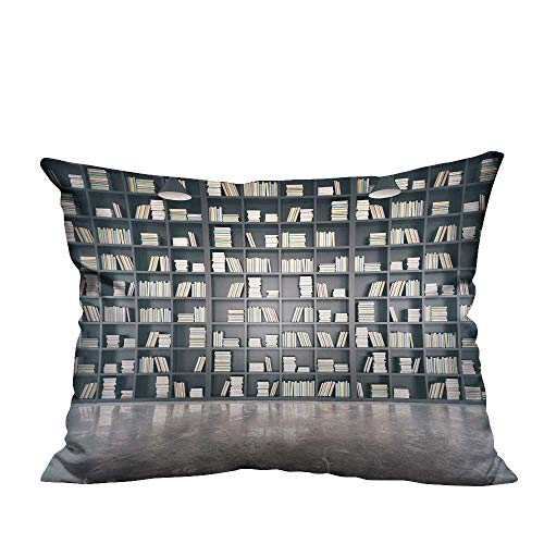 YouXianHome Home DecorCushion Covers Personal Library Bookcase Concrete Floor Comfortable and Breathable(Double-Sided Printing) 19.5x26 inch