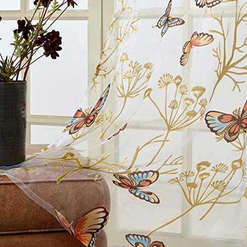 Top Finel Butterfly Voile Sheer Curtains 84 Inches Long for Bedroom Living Room Nursery Grommet Window Curtains, 2 Panels ()