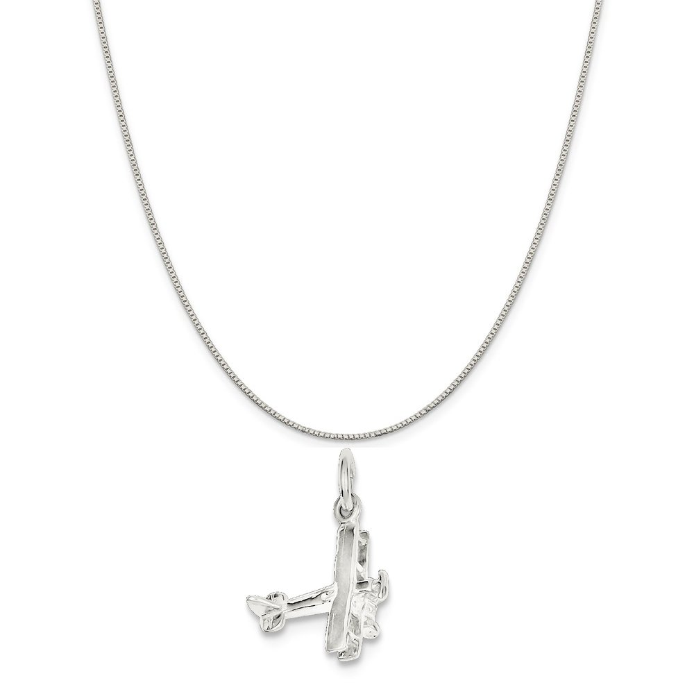 16-20 Sterling Silver Airplane Charm on a Sterling Silver Chain Necklace