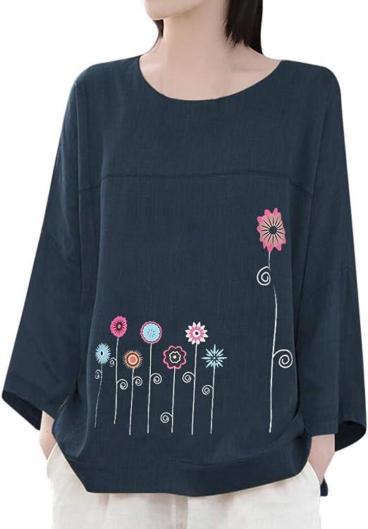 ღLILICATღ Blusas Mujer Manga Larga Camisas Algodón y Lino Camisetas Estampado Tops Tallas Grandes M-5XL: Amazon.es: Hogar