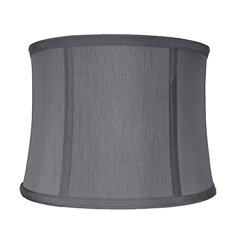 Urbanest Softback Drum Lampshade,Faux Silk, 15-inch by 16-inch by 11-inch, Gray, Spider Washer Fitter