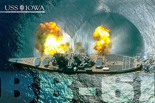 EuroGraphics USS Iowa Guns Firing Photo Art Print Poster 36x