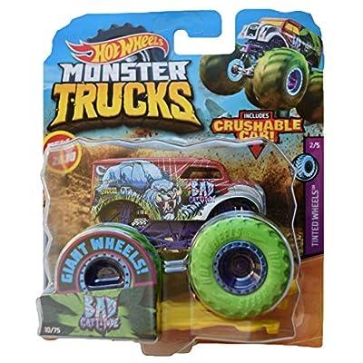 Hot Wheels Monster Trucks 1:64 Scale Bad Cattitude 10/75 Crushable Car: Toys & Games