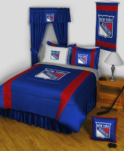 New York Rangers 8 Pc FULL Size Comforter Set and One Matching Window Valance/Drape Set [84 Inch Drapes] (Comforter, 1 Flat Sheet, 1 Fitted Sheet, 2 Pillow Cases, 2 Shams, 1 Bedskirt, 1 Matching Window Valance/Drape Set - 84'' Length Drapes) SAVE BIG ON BU