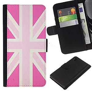 [Neutron-Star] Modelo colorido cuero de la carpeta del tirón del caso cubierta piel Holster Funda protecció Para Sony Xperia Z4v / Sony Xperia Z4 / E6508 [Uk Pink Gay Great Britain Flag Country]