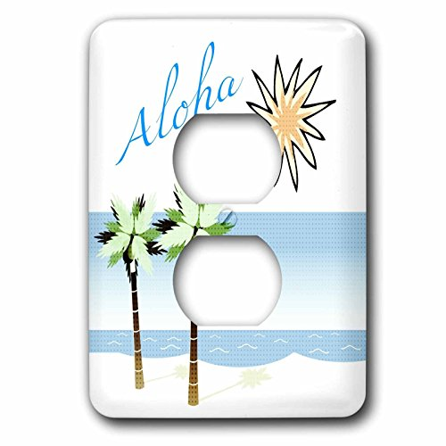 3dRose LLC lsp_59873_6 Aloha Hawaiian Beach Art Travel Ocean and Palm Trees 2 Plug Outlet Cover by 3dRose