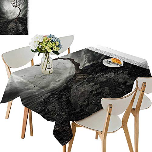 (UHOO2018 Polyester Square/Rectangle Black White Dramatic Mist Gulls Air L ely Tree Enchanted W dy Day Kitchen Washable,50 x102inch)