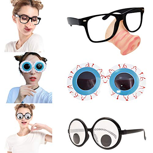 Glumes Googly Eyes Glasses - Plastic Round Party Favors, Novelty Shades, Party Toys, Funny Costume Glasses Accessories for Kids & Adults -