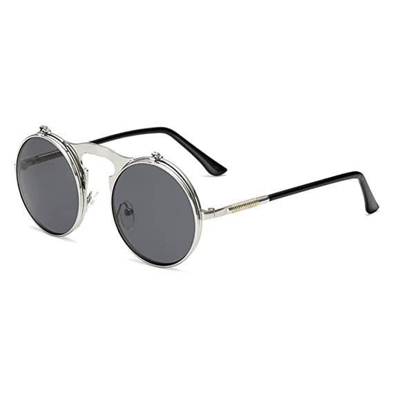 a5463eb829d RazMaz Men and Women Round Steampunk Sunglasses Metal Frame (Grey-Silver- Black)