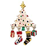 EVER FAITH Austrian Crystal Enamel Wishing Tree Stockings Gift Box Brooch Multicolor Gold-Tone