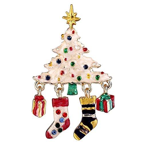 EVER FAITH Austrian Crystal Enamel Wishing Tree Stockings Gift Box Brooch Multicolor Gold-Tone by EVER FAITH
