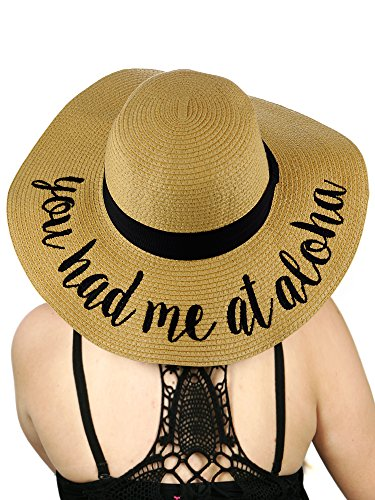 C.C Women's Paper Weaved Crushable Beach Embroidered Quote Floppy Brim Sun Hat, You Had Me at Aloha