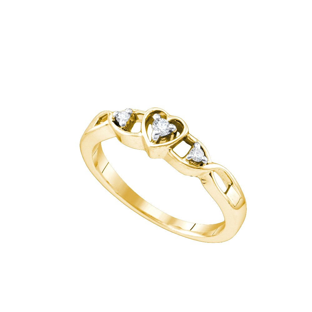 Yellow-tone Sterling Silver Womens Round Diamond Simple Heart Promise Bridal Ring 1/10 Cttw
