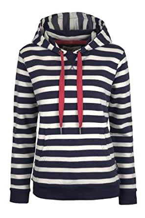 Mountain Warehouse Striped Womens Cotton Hoodie Navy 2
