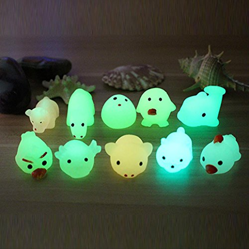 Glow In The Dark Cute Mochi Squishy Toys By E-SCENERY, Squishies Stress Toys Squishy Kawaii Squishy Stress Reliever Anxiety Toys Slow Rising Cream Scented Toy For Children Adults (5 pcs) -