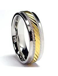 Metal Masters Co.® 7MM Men's 14K Gold Plated Stainless Steel Ring Sizes 7 to 12